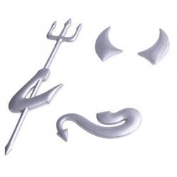 Carsticker - Djævel emblem, Chrom